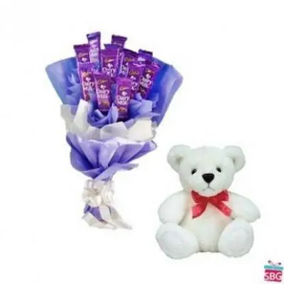Dairy Milk Bouquet With Teddy