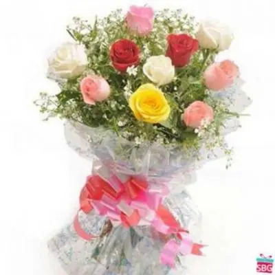 Mixed Roses Bouquet 40 Flowers