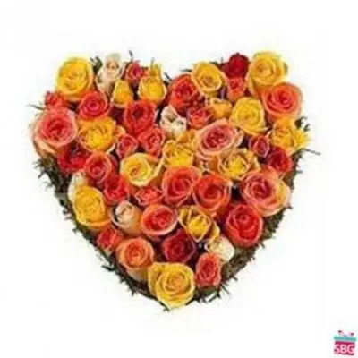 Mixed Roses Heart Arrangement
