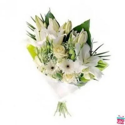 White Mix Flower Bouquet