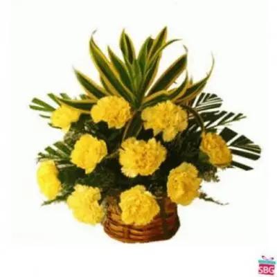 Yellow Carnation Basket
