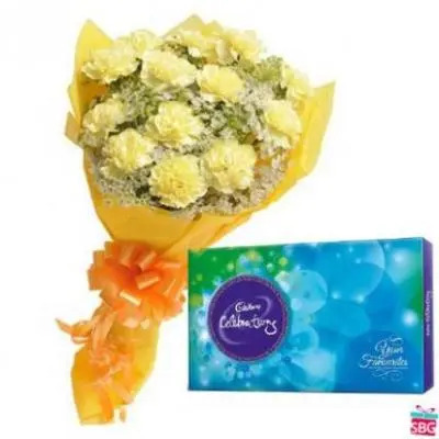 Yellow Carnation With Cadbury Celebration