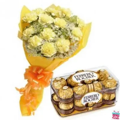 Yellow Carnation With Ferrero Rocher