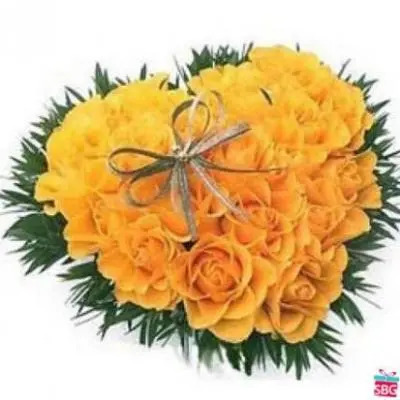 Yellow Roses Heart Arrangement