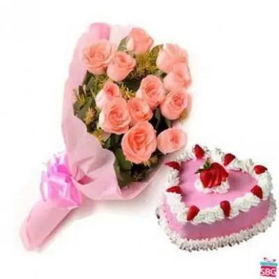 Heart Shape Cake With Pink Roses