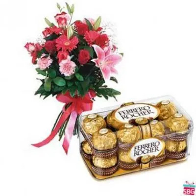 Mixed Flowers With Ferrero Rocher
