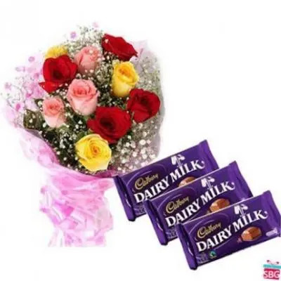Mixed Roses With Cadbury Dairy Milk