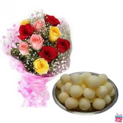Mixed Roses With Rasgulla