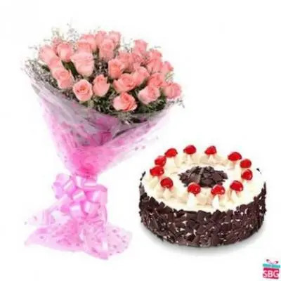 Pink Roses With Black Forest Cake