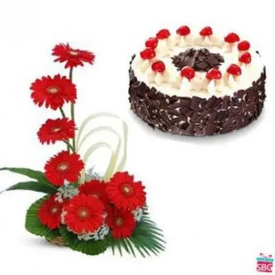Gerbera Basket With Black Forest Cake