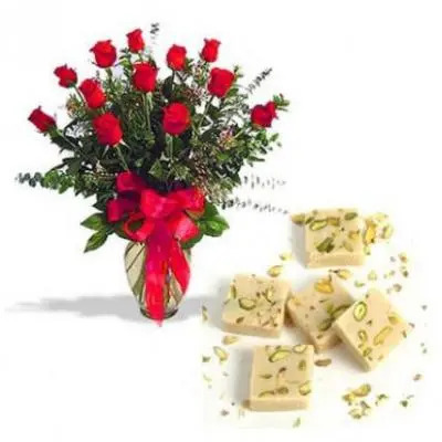 Red Roses With Mawa Burfi