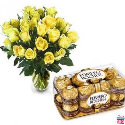Yellow Roses Vase With Ferrero Rocher