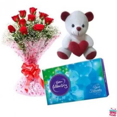 Roses, Teddy With Cadbury Celebration