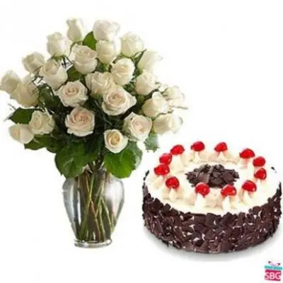 Send White Roses Vase With Black Forest Cake Online In