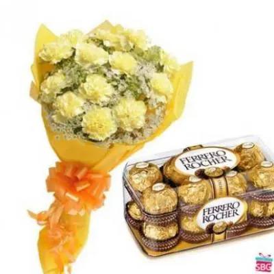 Yellow Carnations With Ferrero Rocher