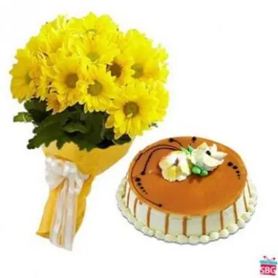 Yellow Gerbera With Cake
