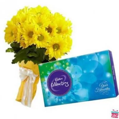 Yellow Gerbera With Chocolate