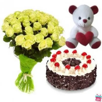 Yellow Roses, Teddy With Cake