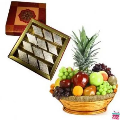 Fresh Fruits Basket With Kaju Burfi