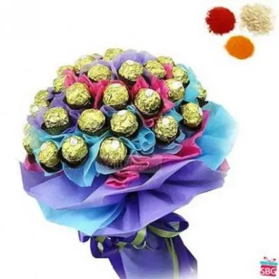 24 Pcs Ferrero Rocher Bouquet With Rolli Tikka