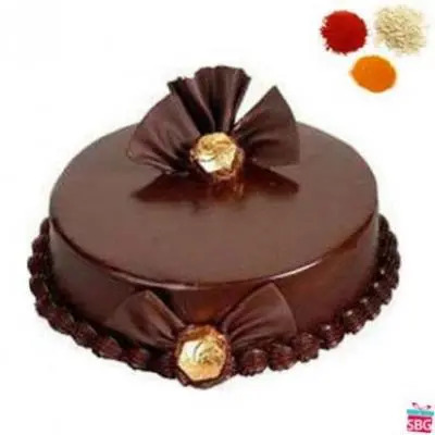 Send bhai dooj gifts to india bhai dooj gift delivery in india rolli tikka with chocolate truffle cake negle Image collections