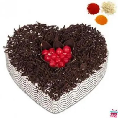 Heart Shape Black Forest Cake With Rolli Tikka