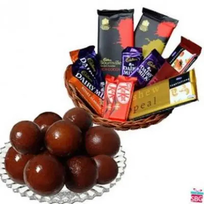 Gulab Jamun With Chocolate Basket