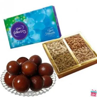 Gulab Jamun, Dry Fruits With Chocolate
