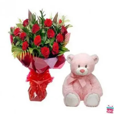 Red Roses With 12 Inch Teddy
