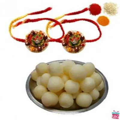 2 Rakhi With Rasgulla