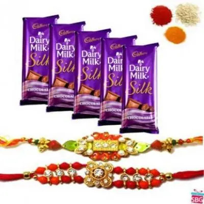 2 Rakhi With 10 Dairy Milk Silk