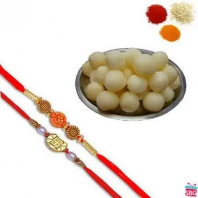2 Rakhi Set With Rasgulla