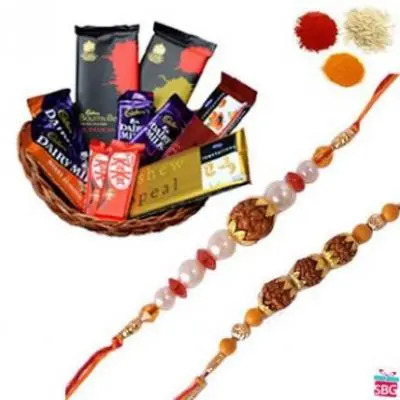 Rakhi With Basket Of Chocolate
