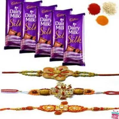3 Rakhi Set With Dairy Milk Silk