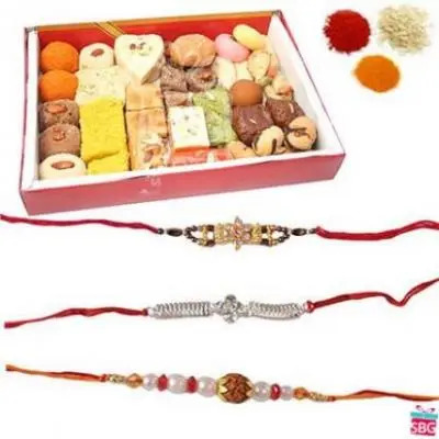 Rakhi With Mix Sweets