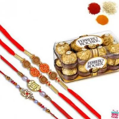 4 Rakhi With Ferrero Rocher