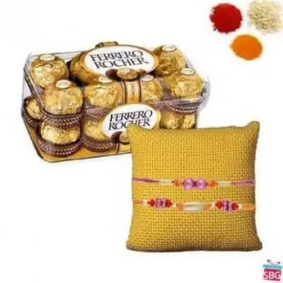 16 Pcs Ferrero Rocher With 2 Rakhi