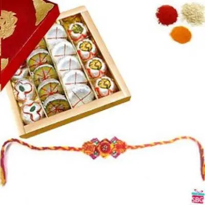 Rakhi With Assorted Khoya Sweet