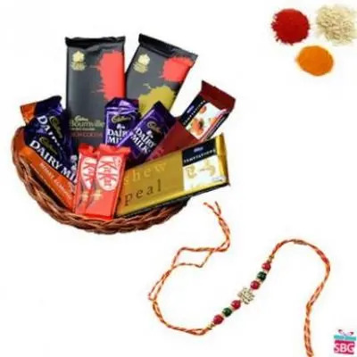 Chocolate Basket With 1 Rakhi