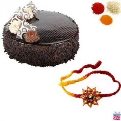 Rakhi With Chocolate Cake