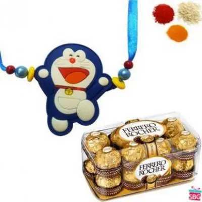 Doraemon Rakhi With Ferrero Rocher