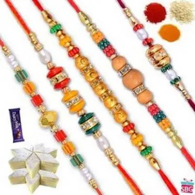 Set Of Five Rakhis