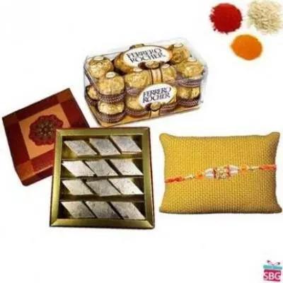 Kaju Burfi+Ferrero Rocher With Rakhi