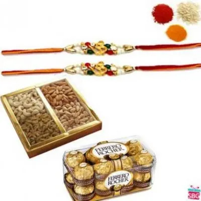 Dry Fruits, Chocolates, Rakhi Thali