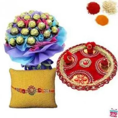 Ferrero Rocher Bouquet With Rakhi Thali