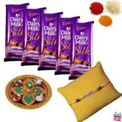 Rakhi Thali With Cadbury Dairy Milk Silk