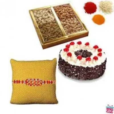 Dry Fruits, Black Forest Cake With Rakhi