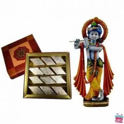Krishna With Kaju Burfi