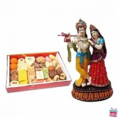 Radha Krishna With Mix Sweets