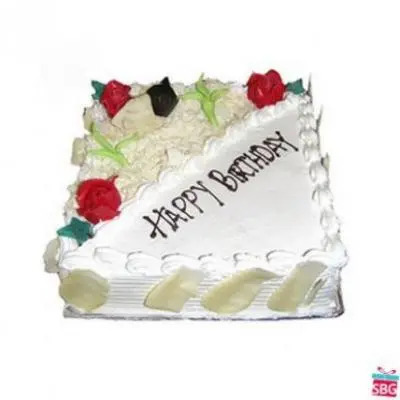 Eggless White Forest Square Cake
